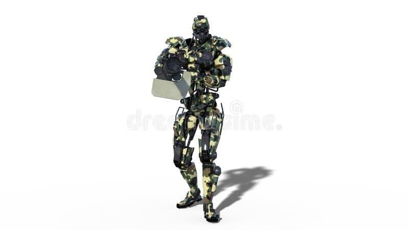 De legerrobot, strijdkrachten cyborg, militaire androïde militair die machinegeweer op witte achtergrond, 3D vooraanzicht schiete stock illustratie
