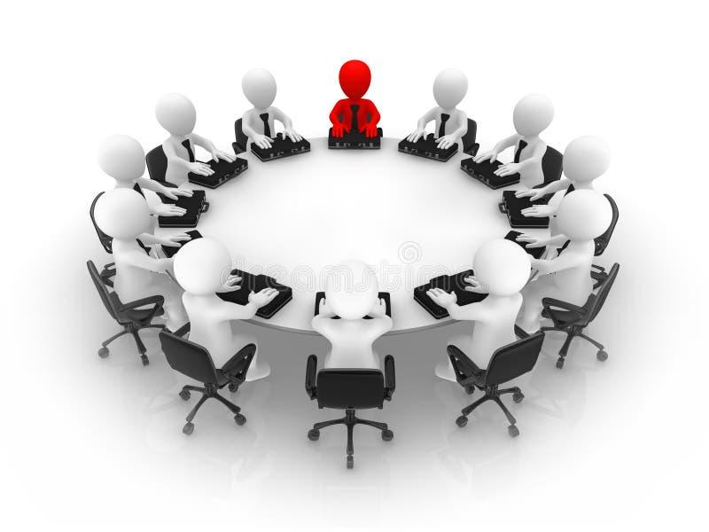 De leider en zijn team bij een rondetafel stock illustratie