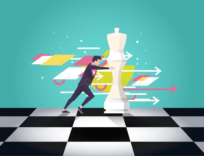 De leider kiest de beste strategische manier om schaak te bewegen Vector vlakke illustratie stock illustratie