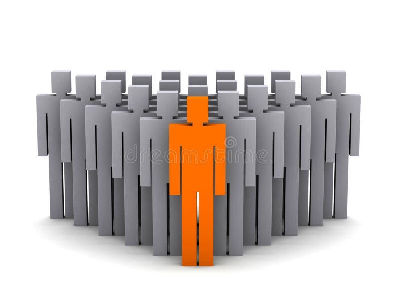 De leider van het team. De werkgever van het bedrijf. Groepswerk. stock illustratie