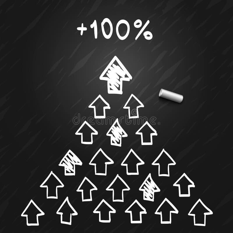 De leider van de piramide van de pijlen schetst royalty-vrije illustratie