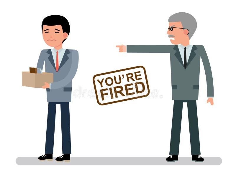 De leider verwerpt de werknemer vector illustratie