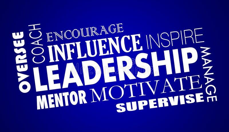 De leiding inspireert Bus Motivate Word Collage stock illustratie