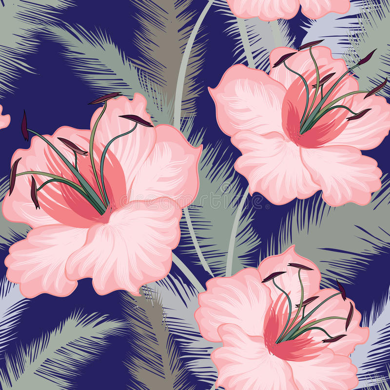 De leliesbloem betegelde bloemen geometrisch naadloos patroon stock illustratie
