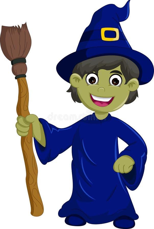 De lelijke heks van Halloween met een hoed en een bezem vector illustratie