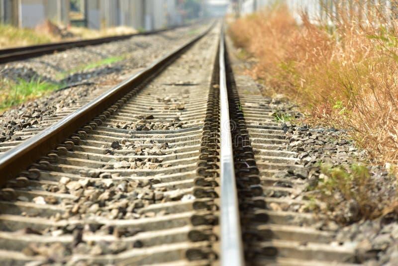 De lengte van het spoorwegspoor stock fotografie