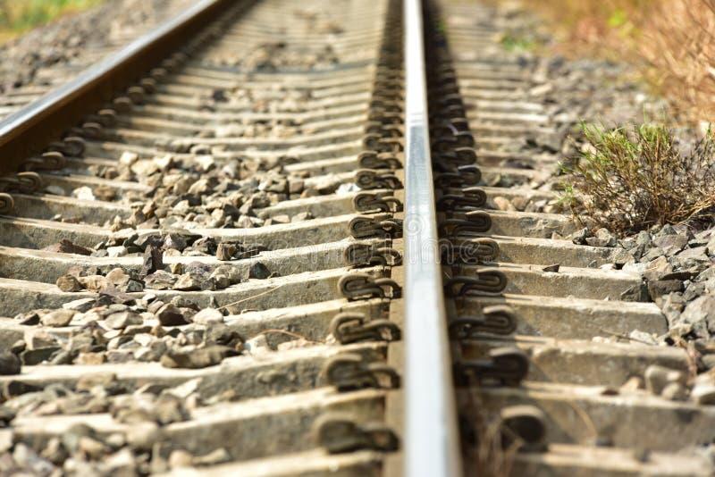 De lengte van het spoorwegspoor stock afbeeldingen