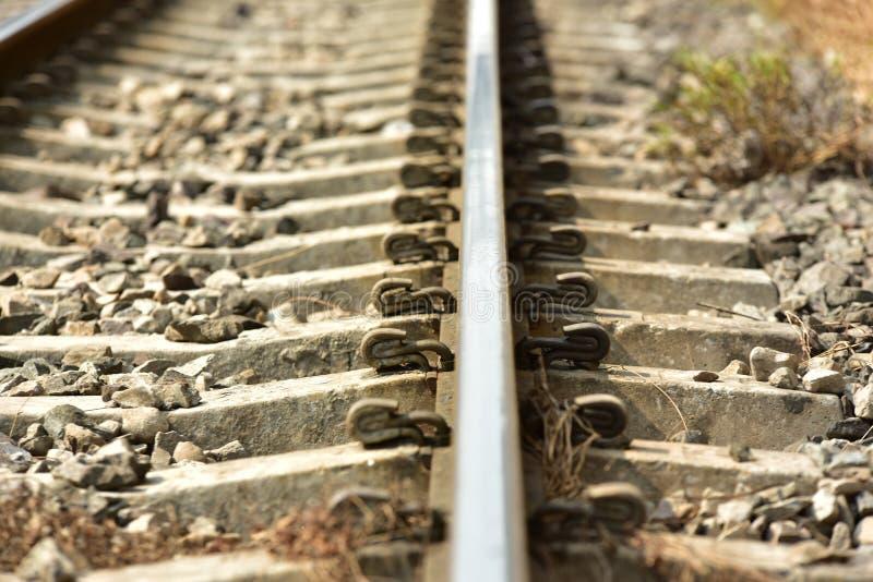 De lengte van het spoorwegspoor stock foto's