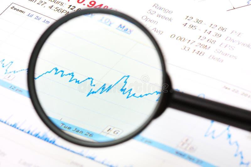 De lens en de grafiek van het vergrotingsapparaat stock fotografie