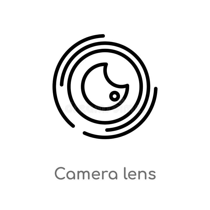 de lens vectorpictogram van de overzichtscamera de ge?soleerde zwarte eenvoudige illustratie van het lijnelement van bioskoopconc vector illustratie