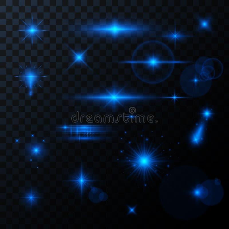 De lensgloed, gloeit lichteffect zon of realistische glanzende ster met een hoogtepunteffect bokeh schitter en lovertjes of stock illustratie