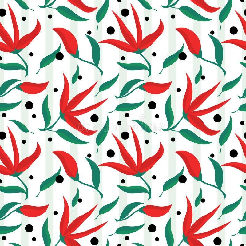 De lente als thema had rode bloemen en groen bladeren naadloos patroon vector illustratie