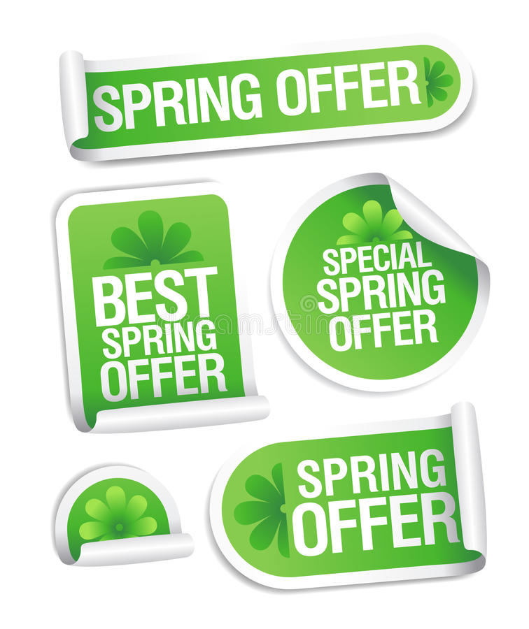 De lente biedt stickers aan. royalty-vrije illustratie