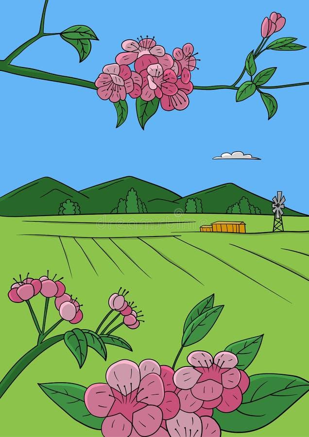 De lente bij landbouwbedrijf stock illustratie