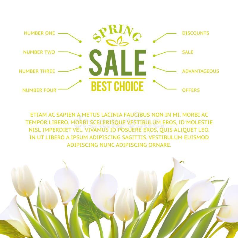 De lente bloeit backround met tekst het van letters voorzien. vector illustratie
