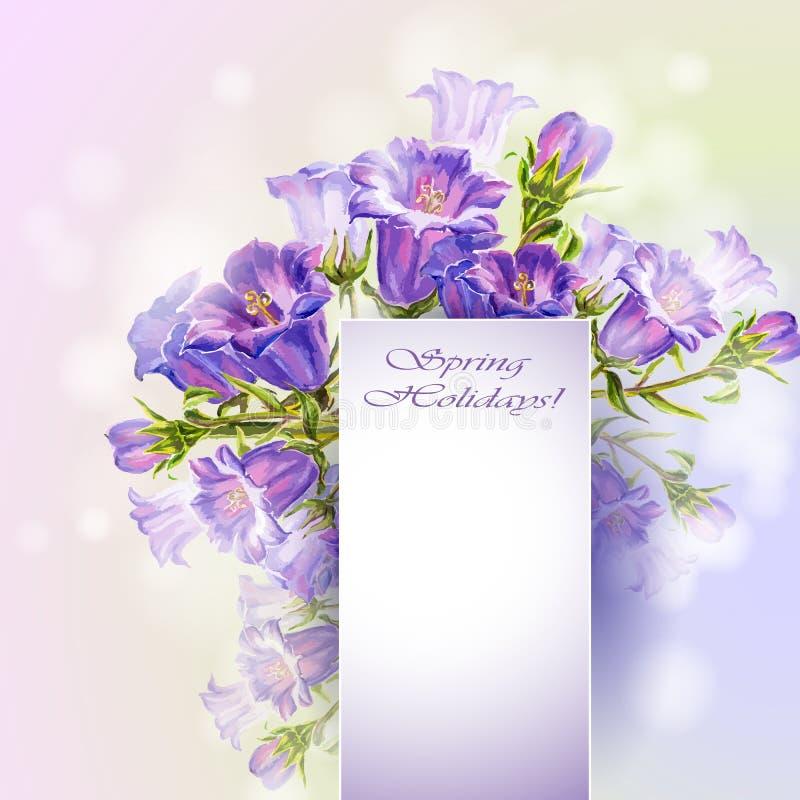 De lente bloeit de kaart van het uitnodigingsmalplaatje royalty-vrije illustratie