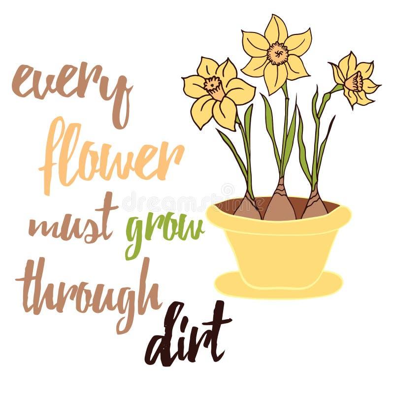 De lente bloeit gele narcissen groeit op de bloempot Typografische affiche vector illustratie