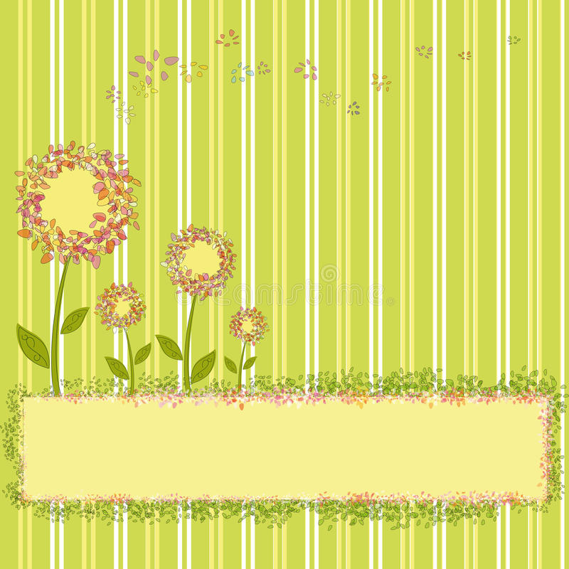 De lente bloeit op groene gele streepachtergrond royalty-vrije illustratie