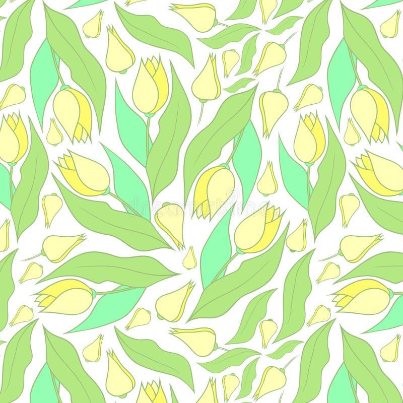 De lente bloeit patroon Geel en wit patroon stock fotografie