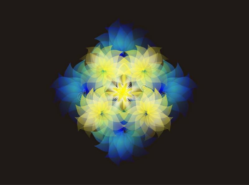 De lente bloeit patroon, grafische bloemen beweging veroorzakend op zwarte achtergrond vector illustratie