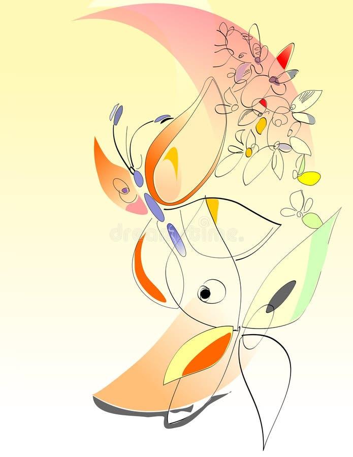 De lente - Bloemen en Vlinders - Digitaal Art. stock illustratie