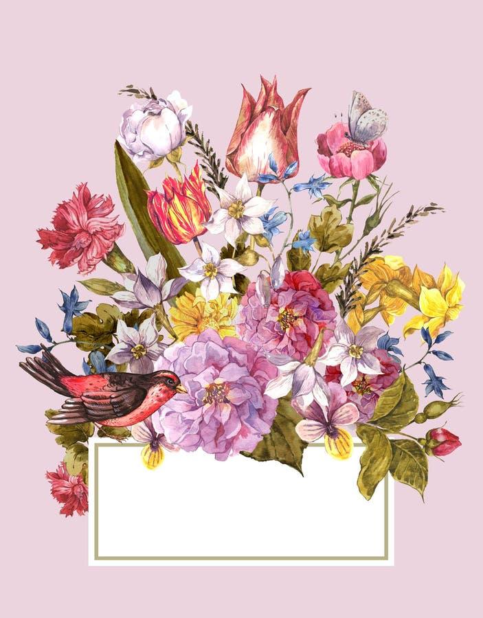 De lente Bloemen Retro Kaart in Uitstekende Stijl royalty-vrije illustratie