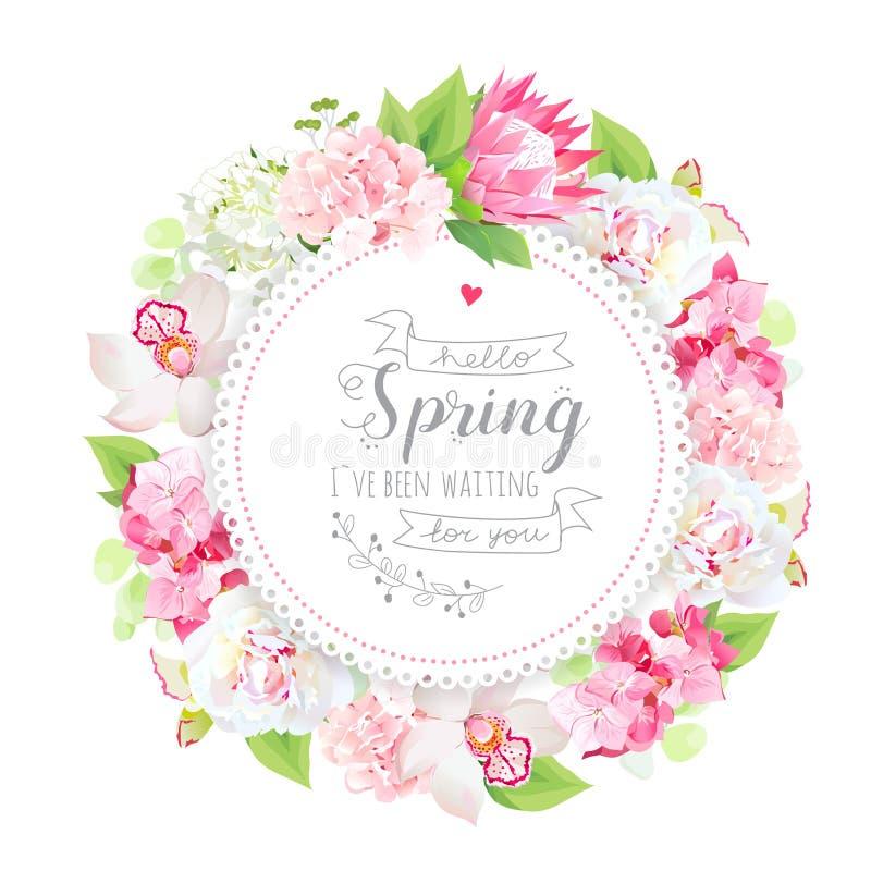 De lente bloemen vector ronde kaart met bloemen en installaties stock illustratie