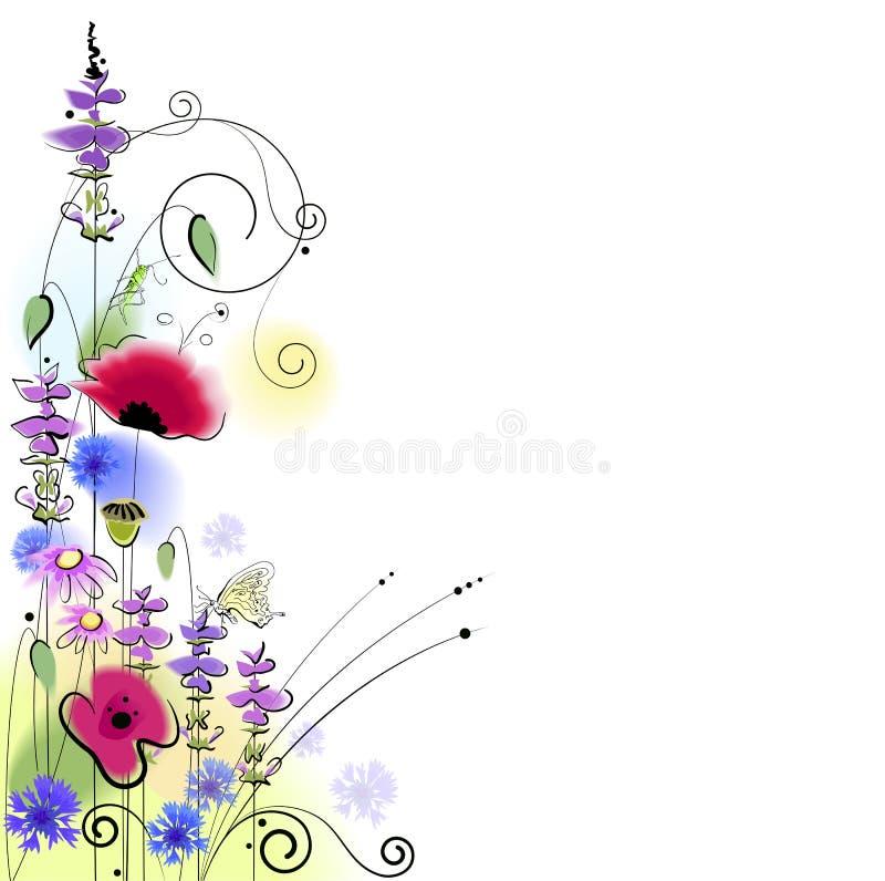 De lente bloemenachtergrond met vlinder royalty-vrije illustratie