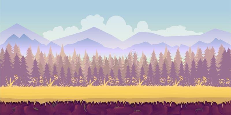 De lente boslandschap, eeuwigdurende vectoraardachtergrond met gescheiden lagen voor spelontwerp 2d toepassing stock illustratie