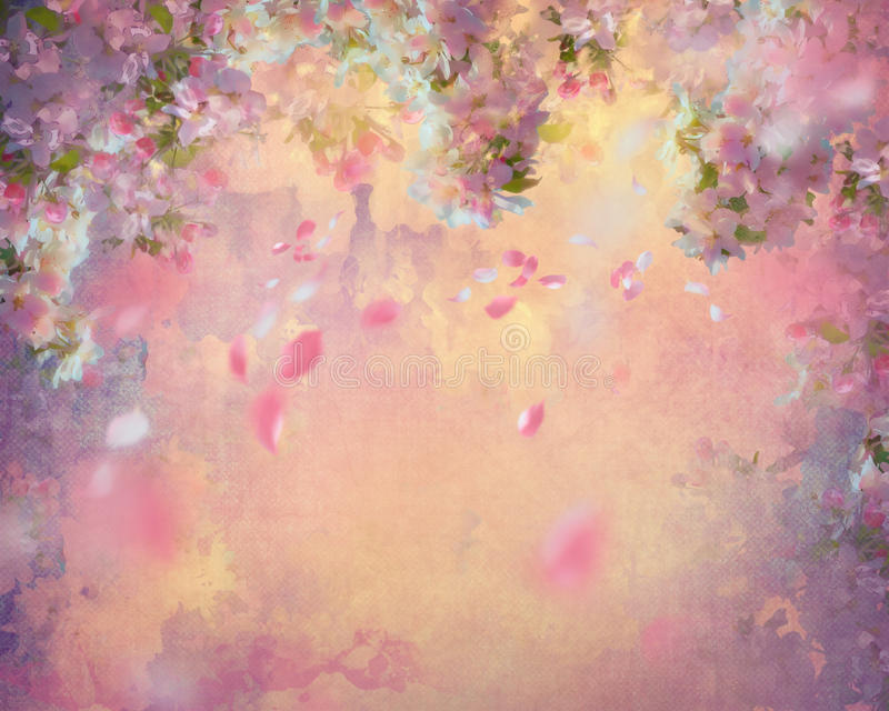 De lente Cherry Blossom Painting stock illustratie