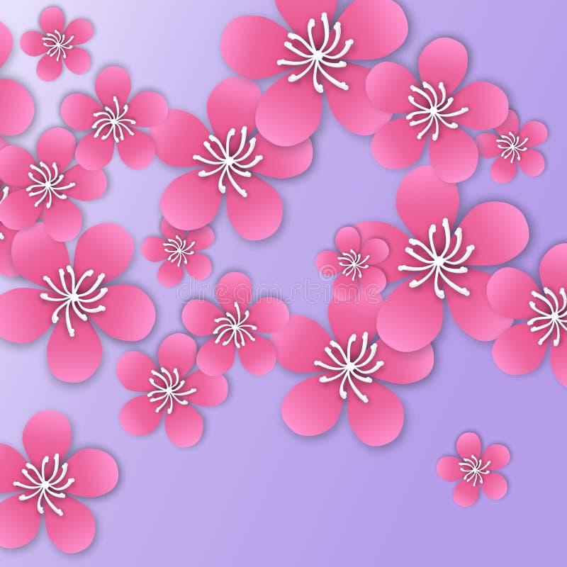De lente Cherry Blossom Roze mooie sakura met papercraftbloemen stock illustratie