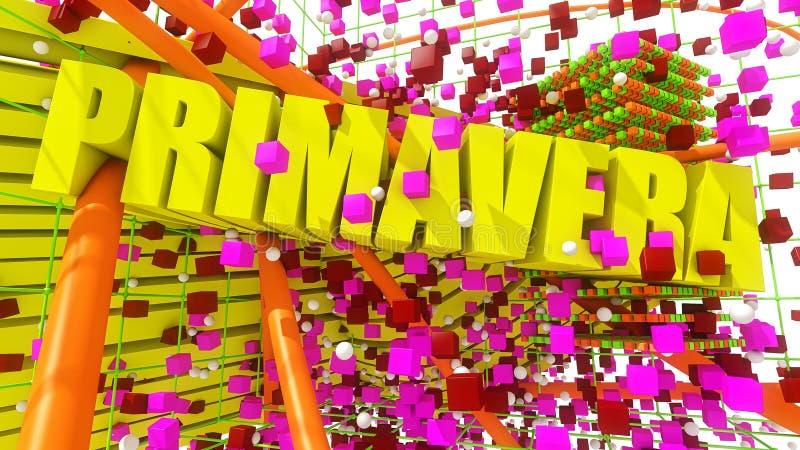 De lente 3d tekst en kleuren stock illustratie