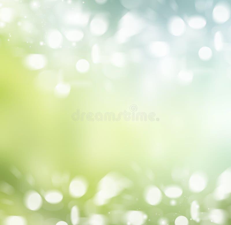 De lente of de zomer abstracte achtergrond met bokehlichten. royalty-vrije illustratie