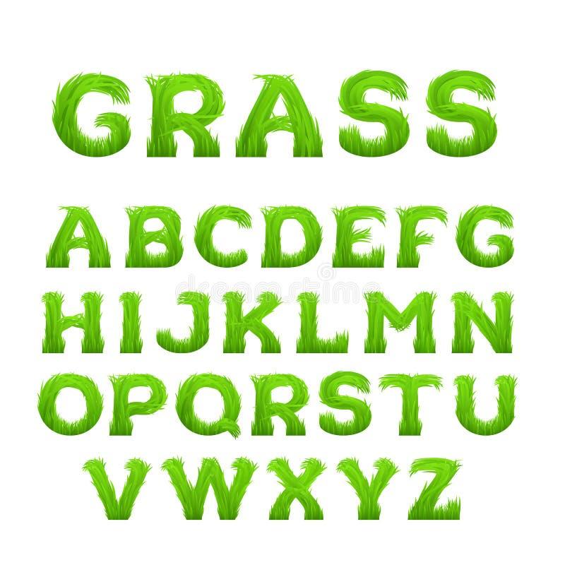 De lente, de zomeralfabet van gras wordt gemaakt dat De vroege doopvont van het de lente groene gras stock illustratie