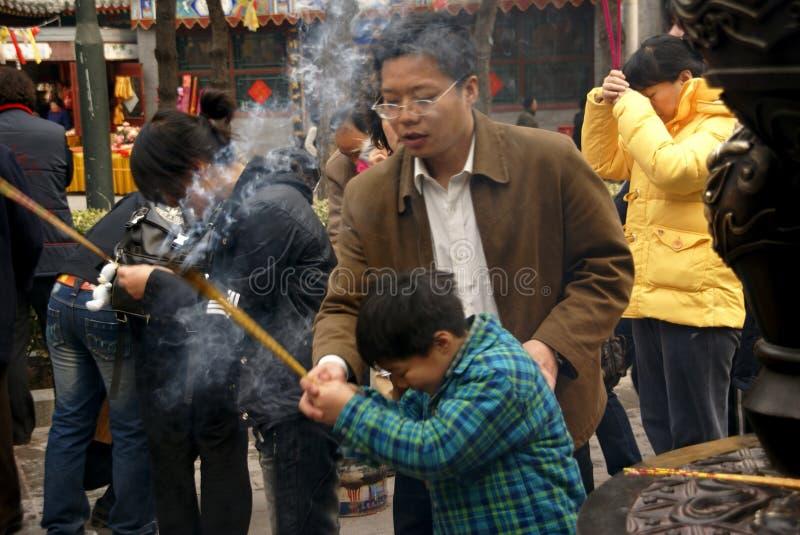 De lente die in China bidt royalty-vrije stock afbeeldingen