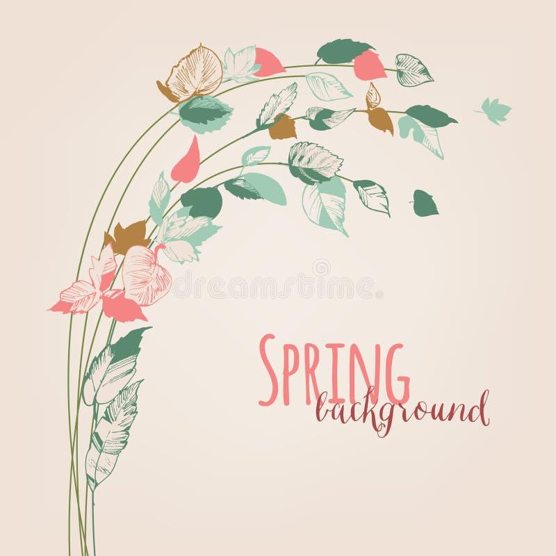 De lente doorbladert, bloemenknoppenachtergrond vector illustratie
