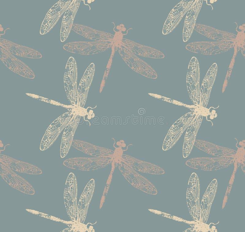 De lente eindeloos patroon met modieuze libellen vector illustratie