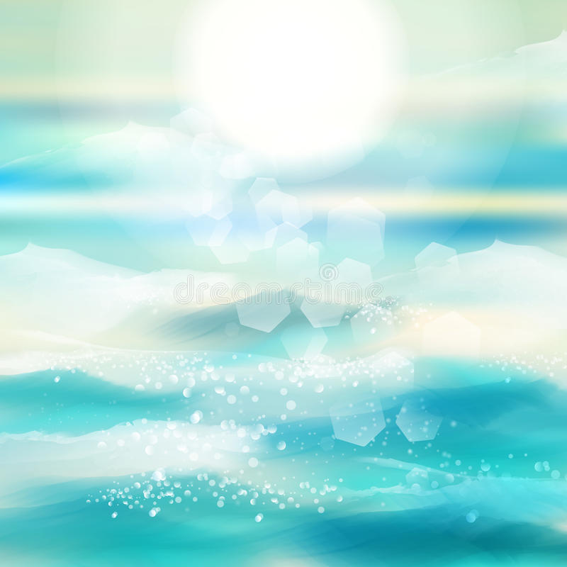 De lente en de zomerwaterverf oceaanachtergrond met glanzende vonken en bokeh Vectorillustratie, Grafisch Ontwerp Editable voor U royalty-vrije illustratie