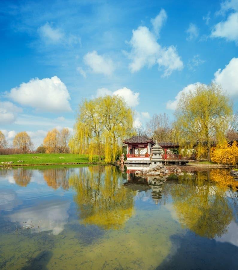 De lente in formele Chinese tuin op een heldere zonnige dag stock afbeelding