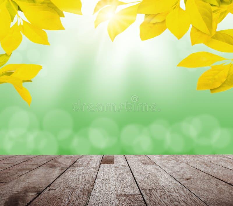 De lente geel blad met groen bokeh en zonlicht en houten vloer stock afbeelding