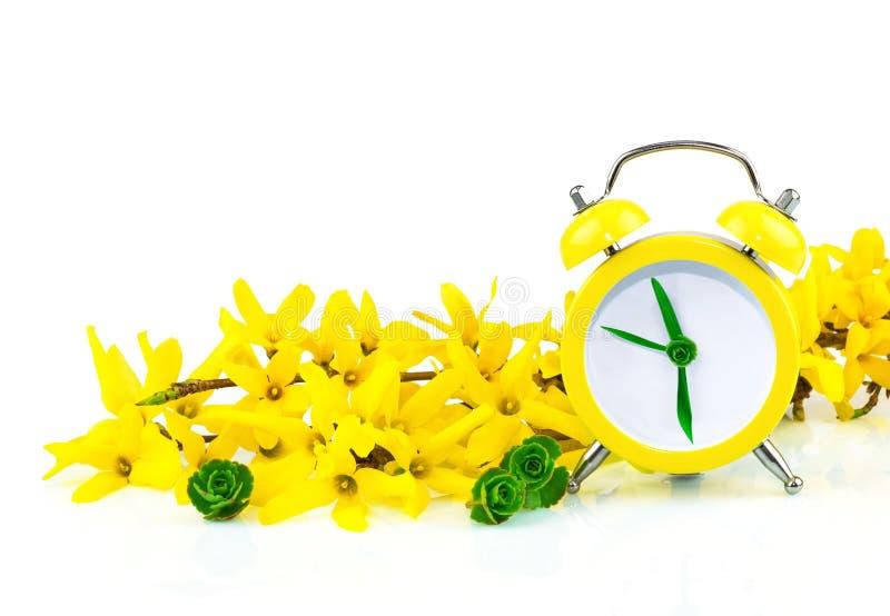 De lente geel concept met klok en bloemen stock foto