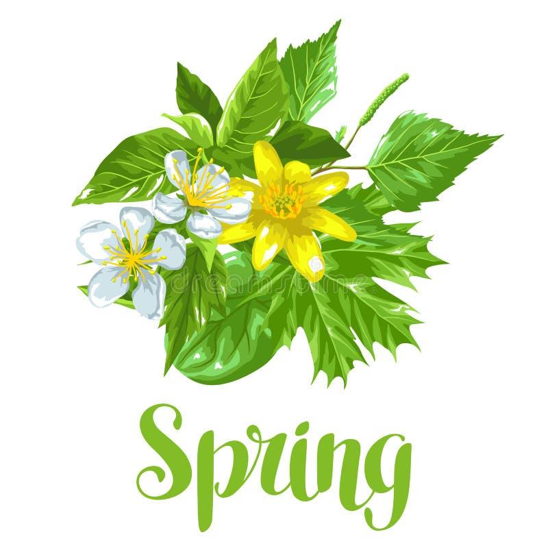De lente groene bladeren en bloemen Kaart met installaties, takje, knoppen vector illustratie