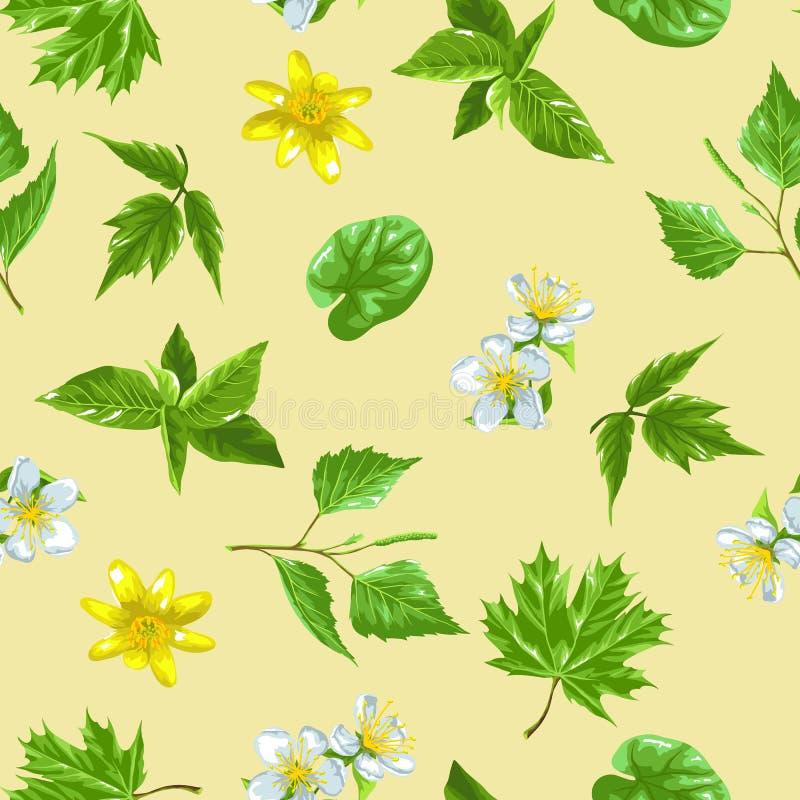 De lente groene bladeren en bloemen Naadloos patroon met installaties, takje, knop vector illustratie