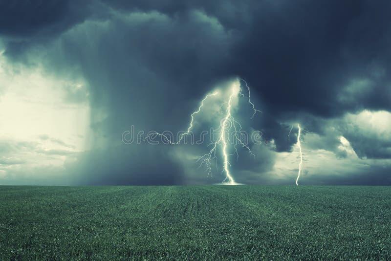 De lente groene gebied en onweersbui stock afbeeldingen