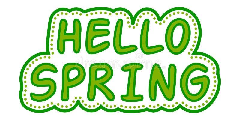 De lente groene stijl van stickerhello vector illustratie