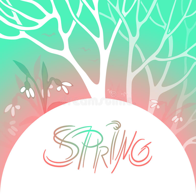 De lente heldere vectorillustratie Maart, het bloeien sneeuwklokjes in sneeuw bostakken van bomen en bloemen vector illustratie