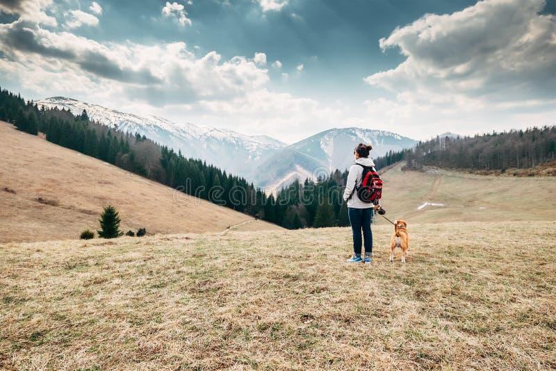 De lente, de herfst turistic tijd - vrouw met brakhond op berg royalty-vrije stock fotografie