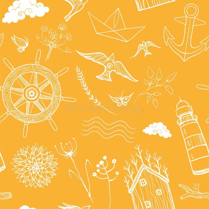 De lente, het naadloze patroon van de de zomerreis Overzees en bosvakantie stock illustratie