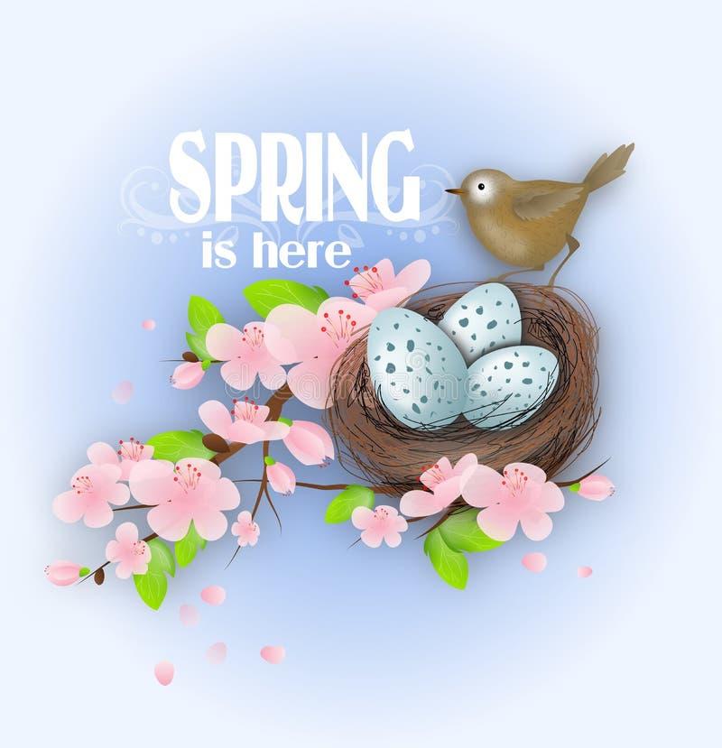 De lente is hier vector illustratie