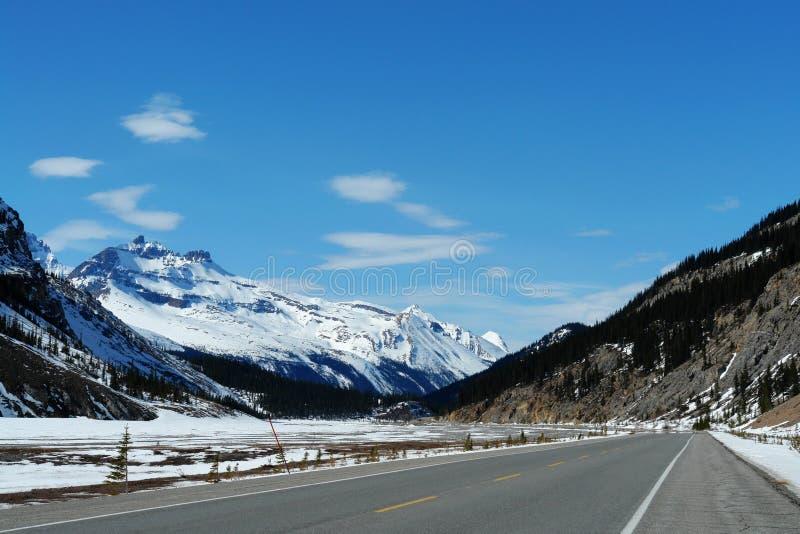 De lente icefiled brede rijweg met mooi aangelegd landschap stock foto